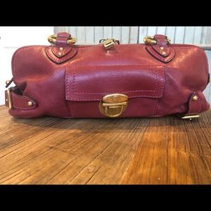 Marc Jacobs red leather shoulder bag w/gold trim